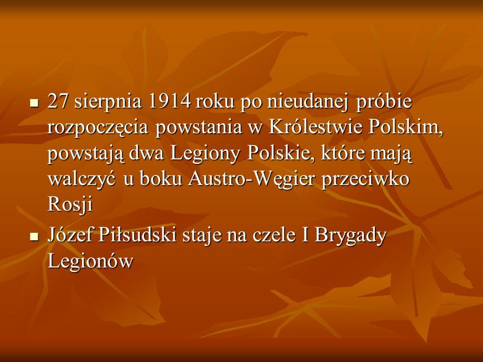 27 sierpnia 1914 roku po nieudanej próbie rozpoczęcia powstania w Królestwie Polskim, powstają dwa Legiony Polskie, które mają walczyć u boku Austro-Węgier przeciwko Rosji