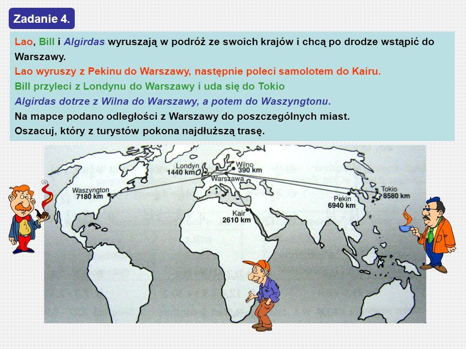 Zadanie 4.Lao, Bill i Algirdas wyruszają w podróż ze swoich krajów i chcą po drodze wstąpić do Warszawy.