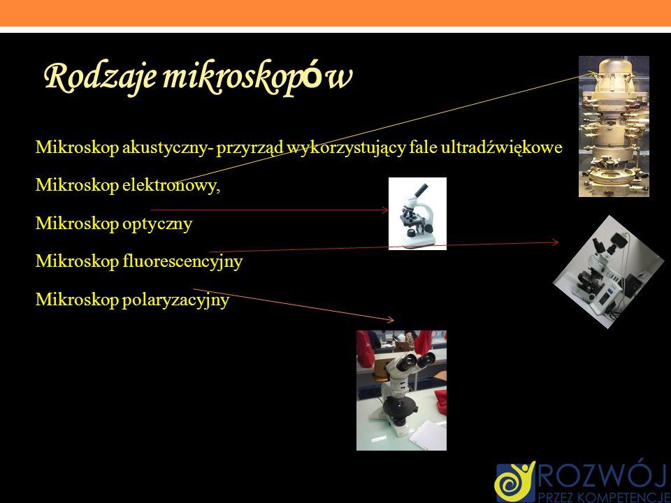 Rodzaje mikroskopów Mikroskop akustyczny- przyrząd wykorzystujący fale ultradźwiękowe. Mikroskop elektronowy,