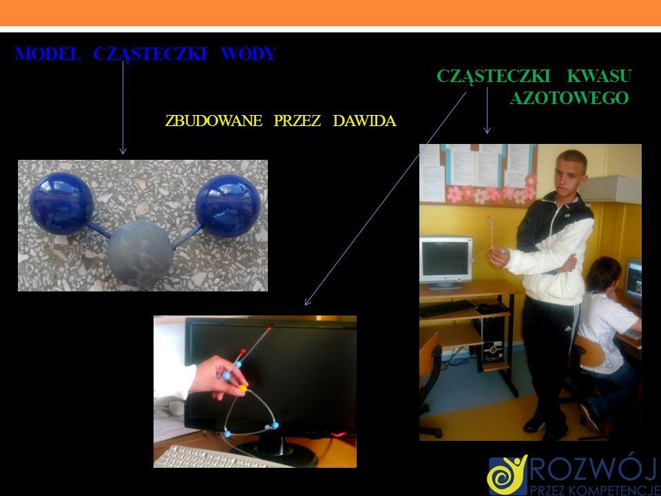 Model cząsteczki wody. cząsteczki kwasu. azotowego