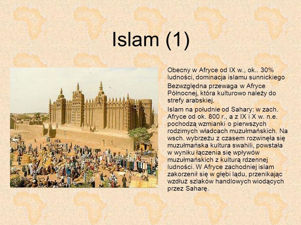 Islam (1) Obecny w Afryce od IX w., ok.. 30% ludności, dominacja islamu sunnickiego.