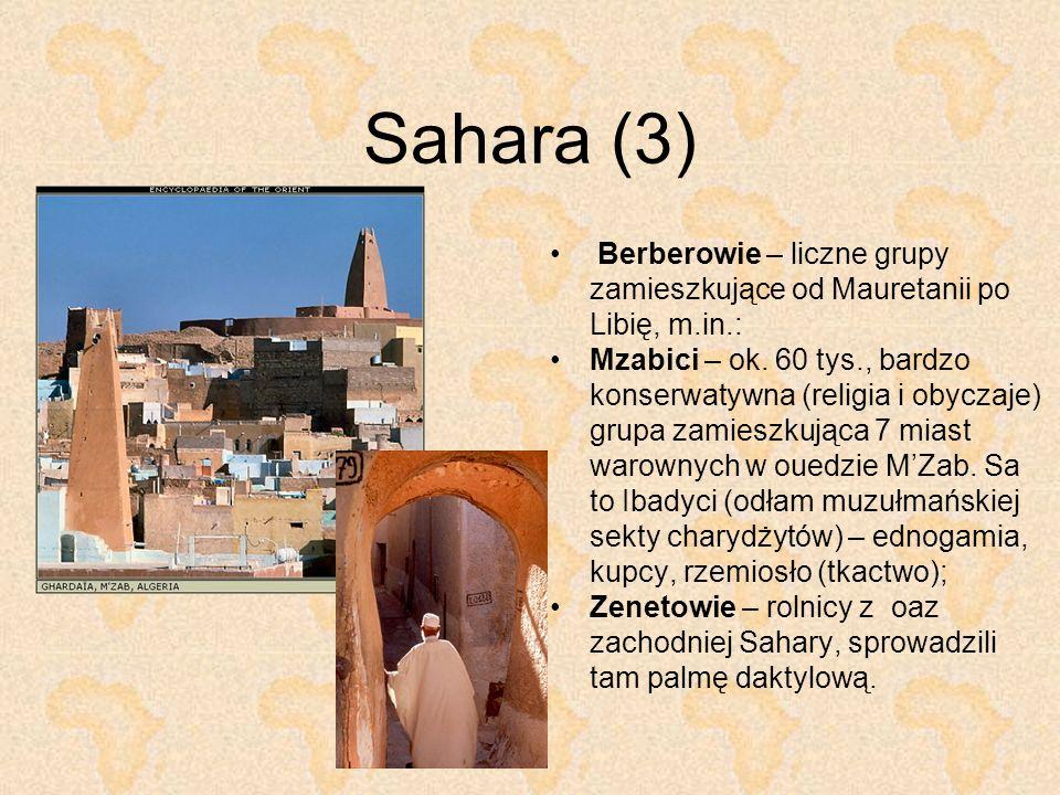 Sahara (3) Berberowie – liczne grupy zamieszkujące od Mauretanii po Libię, m.in.:
