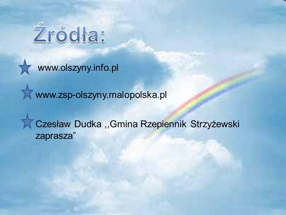 Źródła: www.olszyny.info.pl www.zsp-olszyny.malopolska.pl