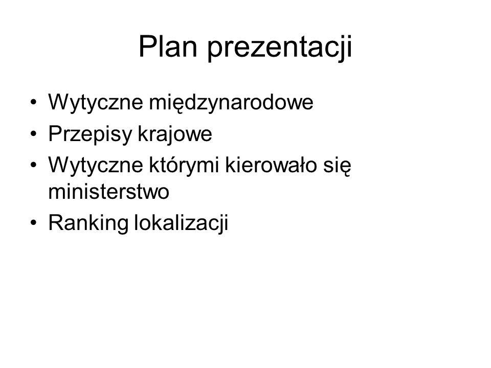 Plan prezentacji Wytyczne międzynarodowe Przepisy krajowe