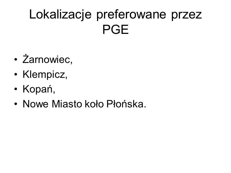 Lokalizacje preferowane przez PGE