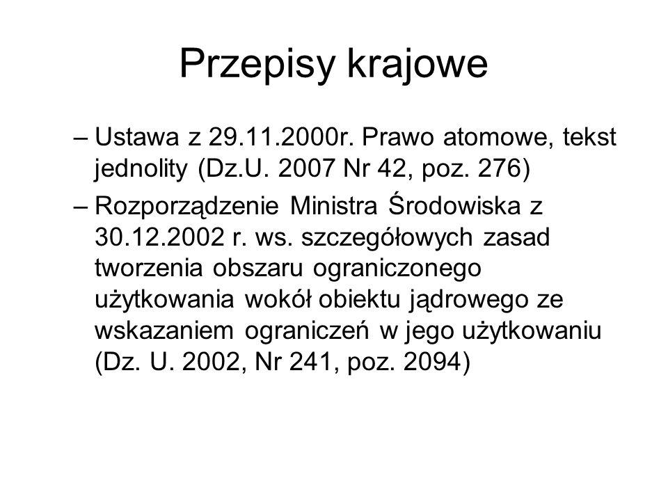 Przepisy krajowe Ustawa z 29.11.2000r. Prawo atomowe, tekst jednolity (Dz.U. 2007 Nr 42, poz. 276)