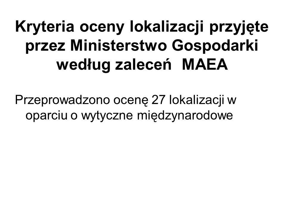 Kryteria oceny lokalizacji przyjęte przez Ministerstwo Gospodarki według zaleceń MAEA