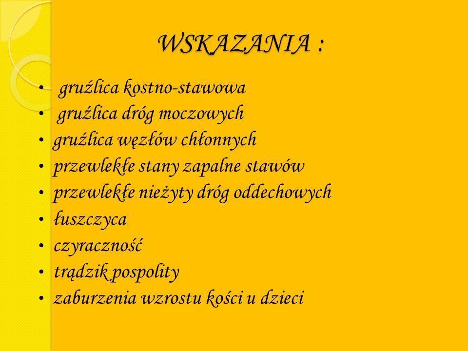 WSKAZANIA : gruźlica kostno-stawowa gruźlica dróg moczowych