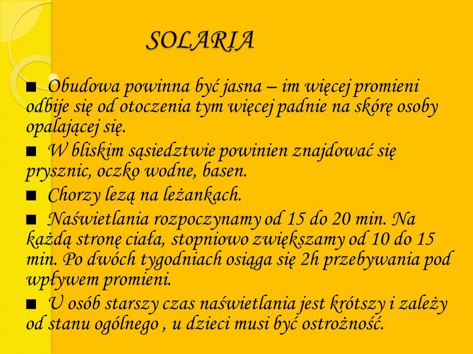 SOLARIA ■ Obudowa powinna być jasna – im więcej promieni odbije się od otoczenia tym więcej padnie na skórę osoby opalającej się.