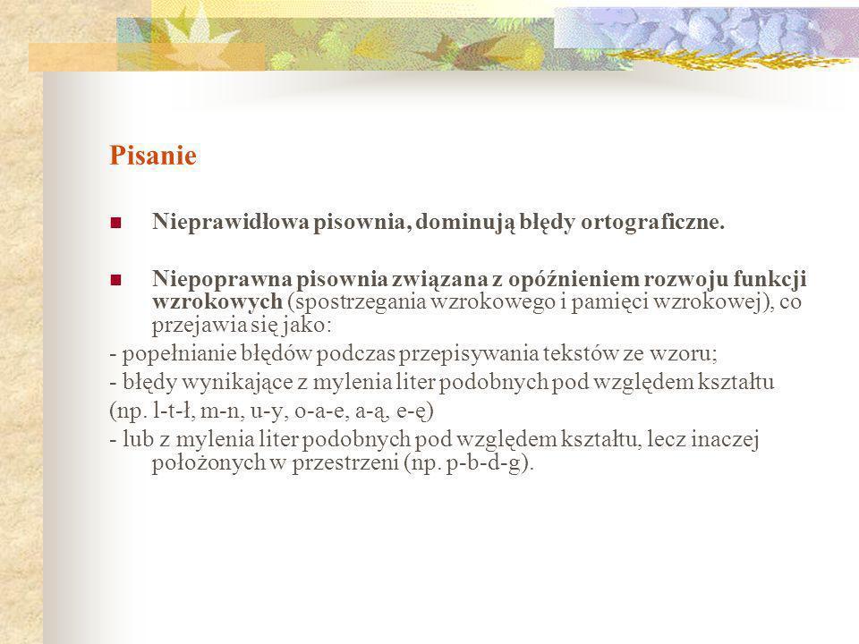 Pisanie Nieprawidłowa pisownia, dominują błędy ortograficzne.