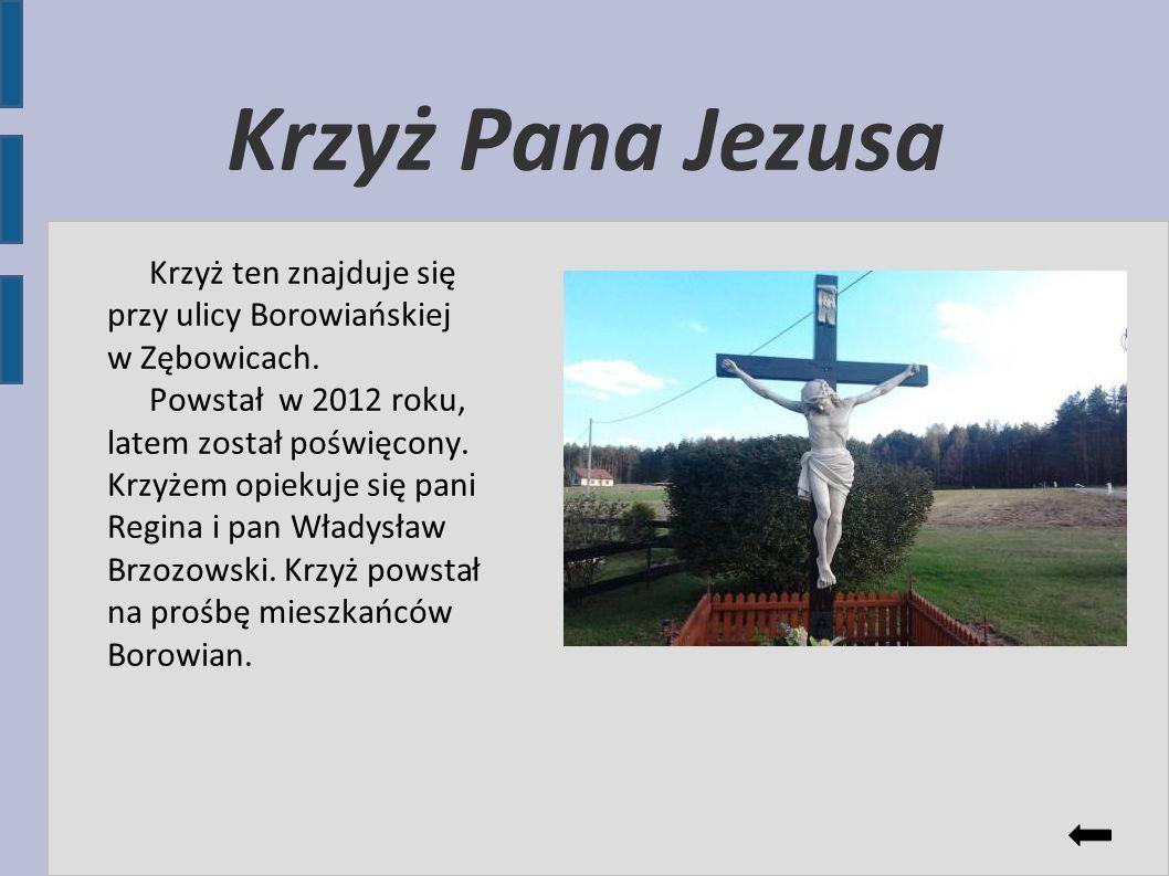 Krzyż Pana Jezusa Krzyż ten znajduje się przy ulicy Borowiańskiej w Zębowicach.