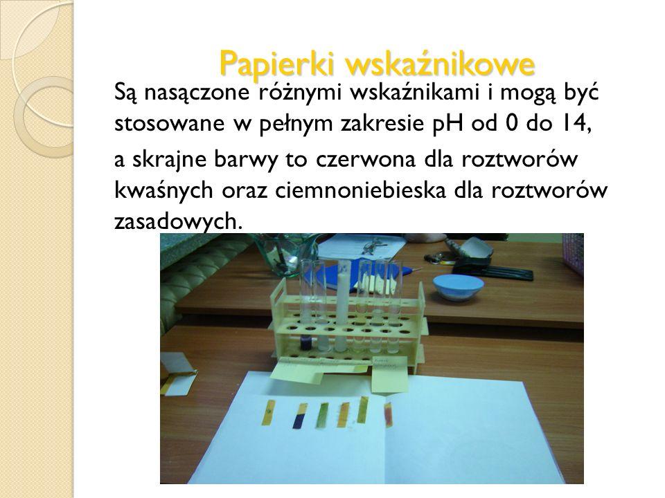 Papierki wskaźnikowe Są nasączone różnymi wskaźnikami i mogą być stosowane w pełnym zakresie pH od 0 do 14,