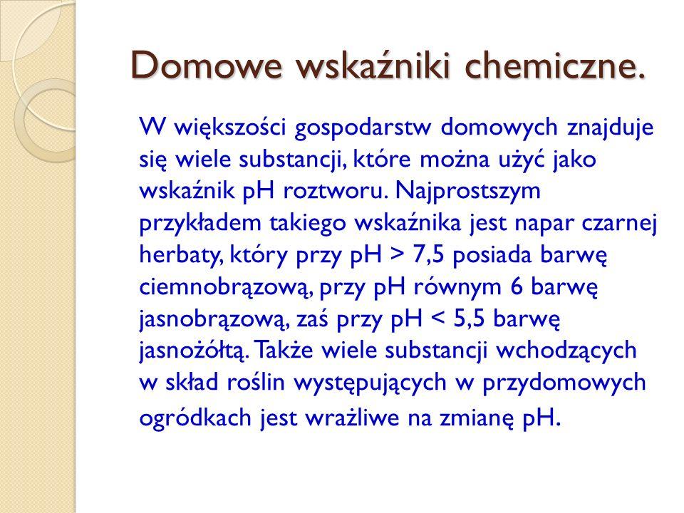 Domowe wskaźniki chemiczne.