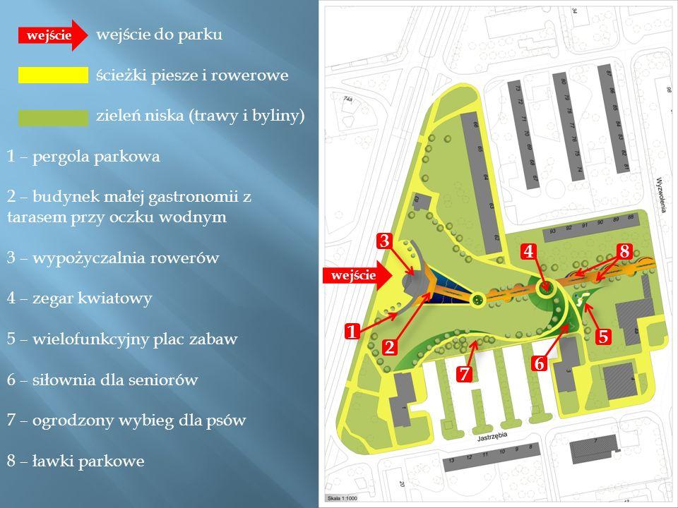 3 4 8 1 5 2 6 7 wejście do parku ścieżki piesze i rowerowe
