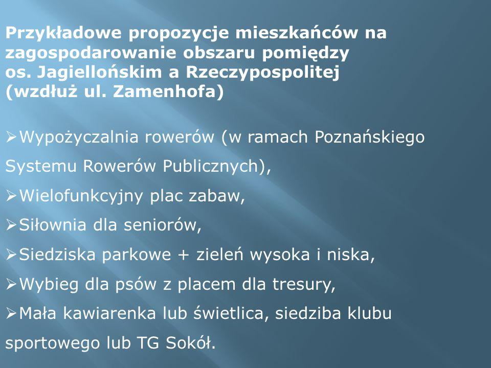 Przykładowe propozycje mieszkańców na zagospodarowanie obszaru pomiędzy