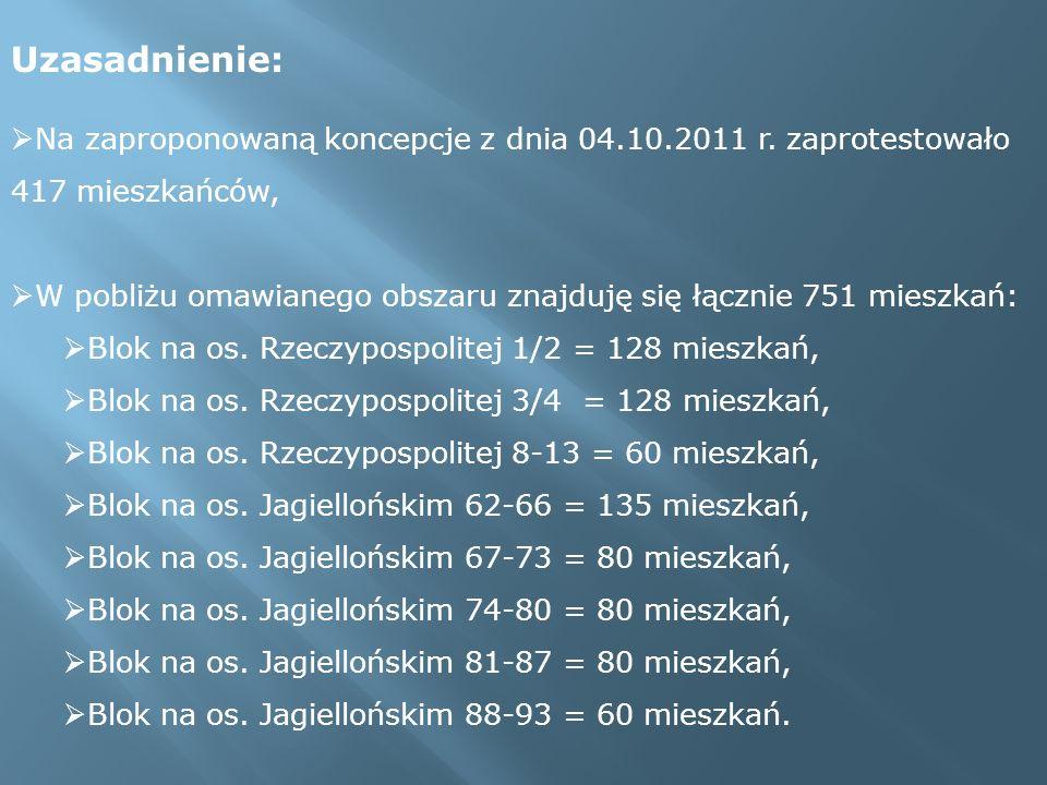 Uzasadnienie: Na zaproponowaną koncepcje z dnia 04.10.2011 r. zaprotestowało 417 mieszkańców,
