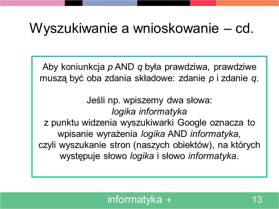 Wyszukiwanie a wnioskowanie – cd.