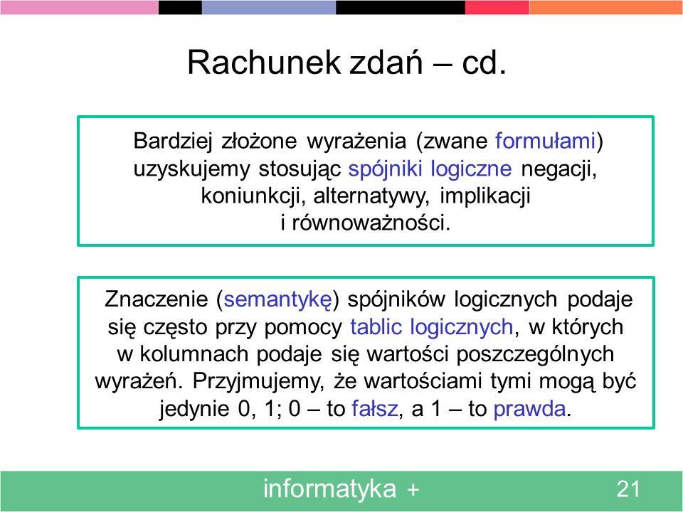 Rachunek zdań – cd. informatyka + i równoważności.