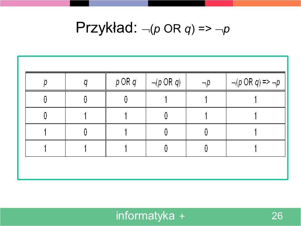 Przykład: (p OR q) => p