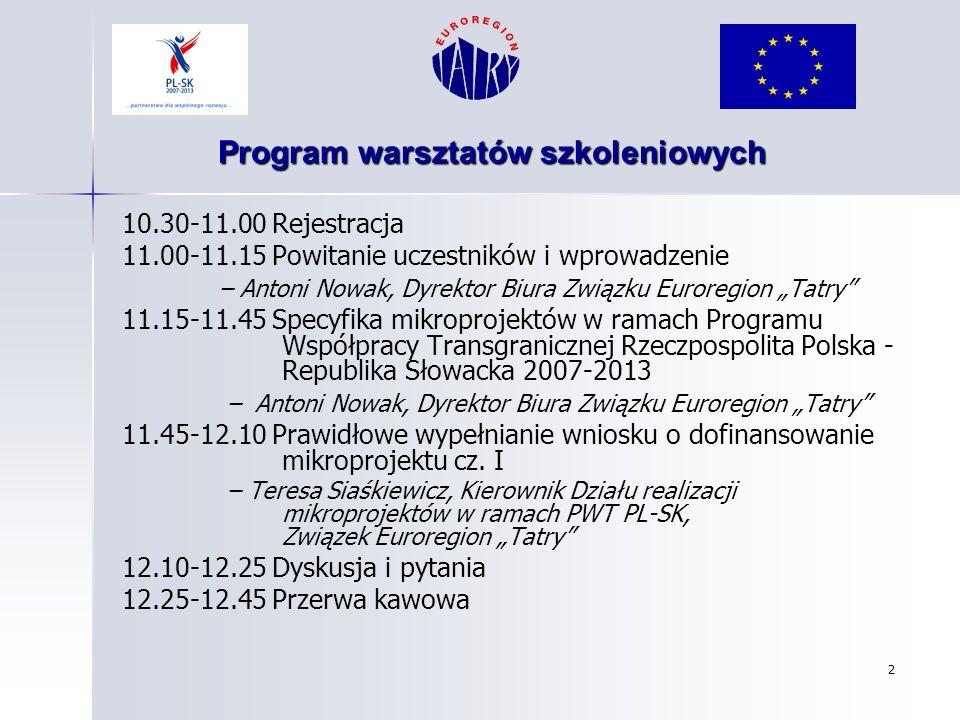 Program warsztatów szkoleniowych