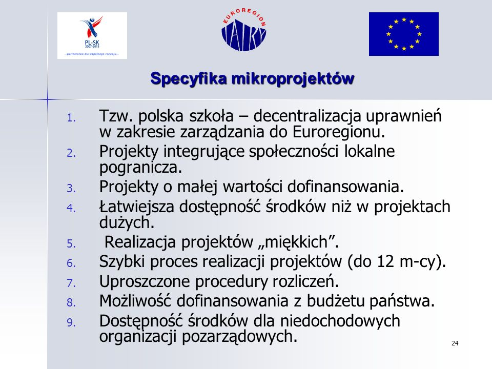 Specyfika mikroprojektów