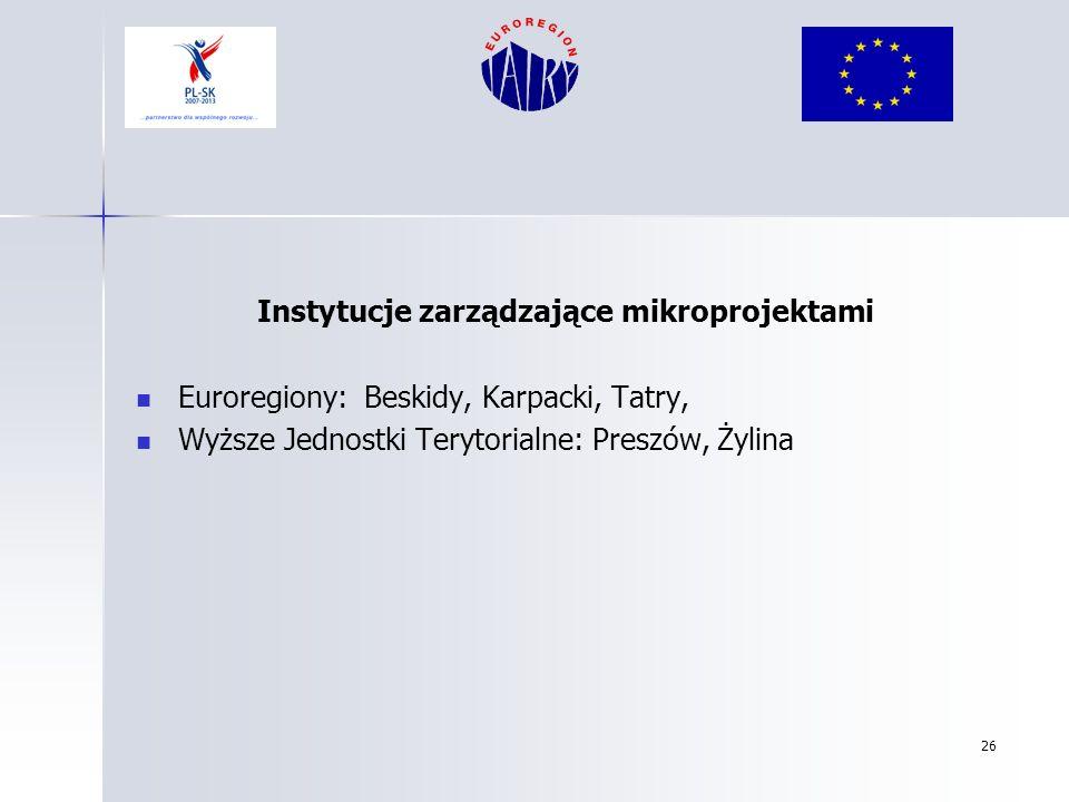 Instytucje zarządzające mikroprojektami