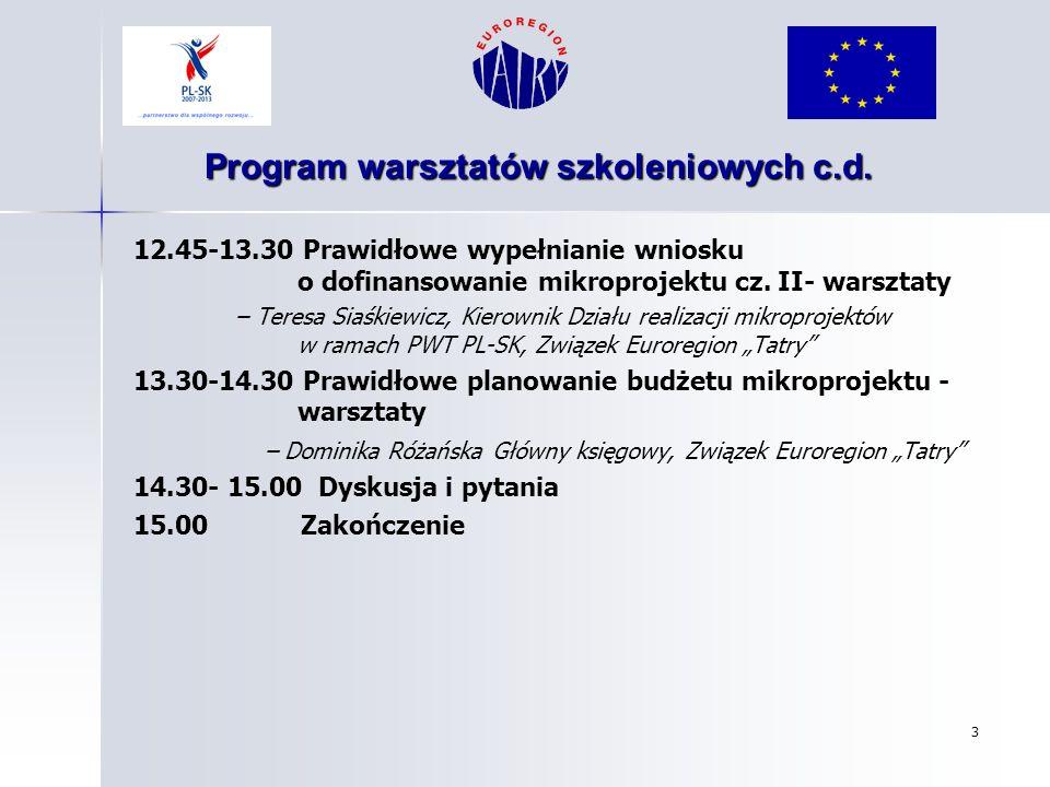 Program warsztatów szkoleniowych c.d.