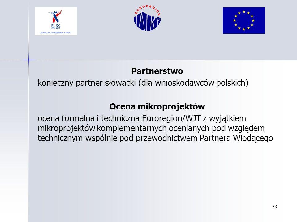 Partnerstwo konieczny partner słowacki (dla wnioskodawców polskich) Ocena mikroprojektów.