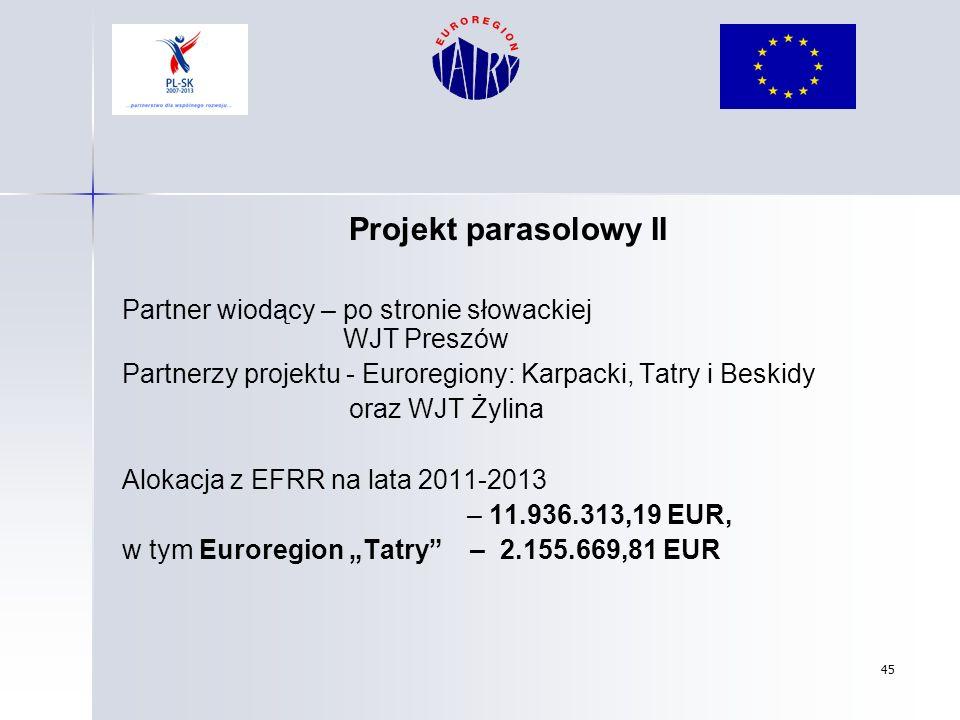 Projekt parasolowy II Partner wiodący – po stronie słowackiej WJT Preszów.