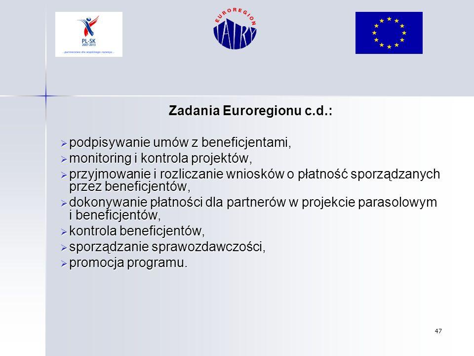 Zadania Euroregionu c.d.: