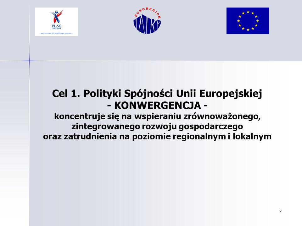 Cel 1. Polityki Spójności Unii Europejskiej - KONWERGENCJA -
