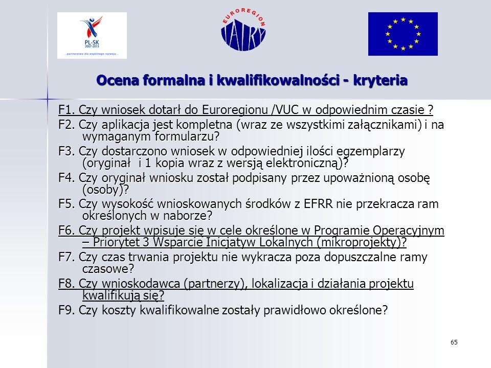 Ocena formalna i kwalifikowalności - kryteria