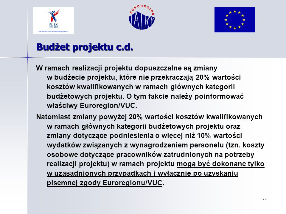 Budżet projektu c.d.