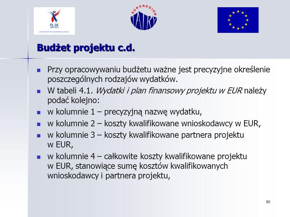 Budżet projektu c.d. Przy opracowywaniu budżetu ważne jest precyzyjne określenie poszczególnych rodzajów wydatków.