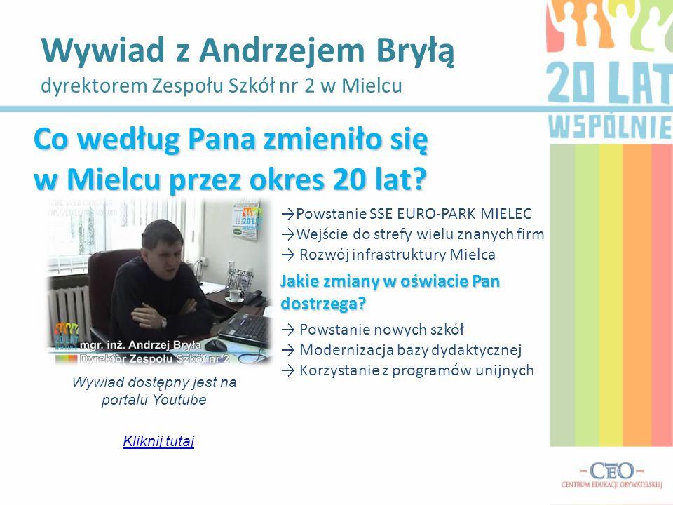Wywiad z Andrzejem Bryłą dyrektorem Zespołu Szkół nr 2 w Mielcu