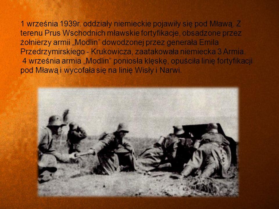 1 września 1939r. oddziały niemieckie pojawiły się pod Mławą