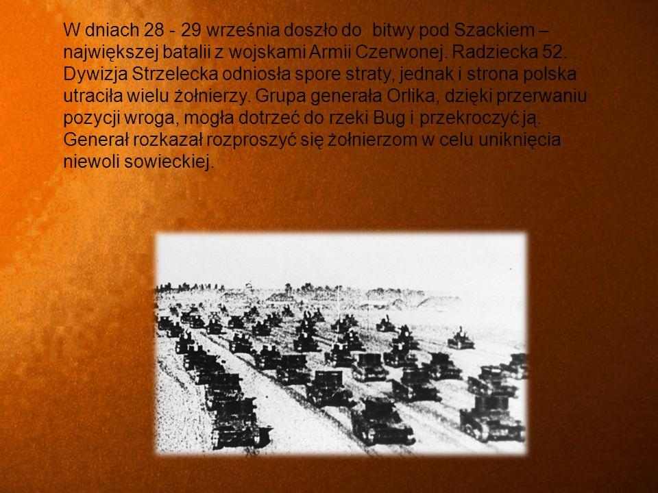 W dniach 28 - 29 września doszło do bitwy pod Szackiem – największej batalii z wojskami Armii Czerwonej.