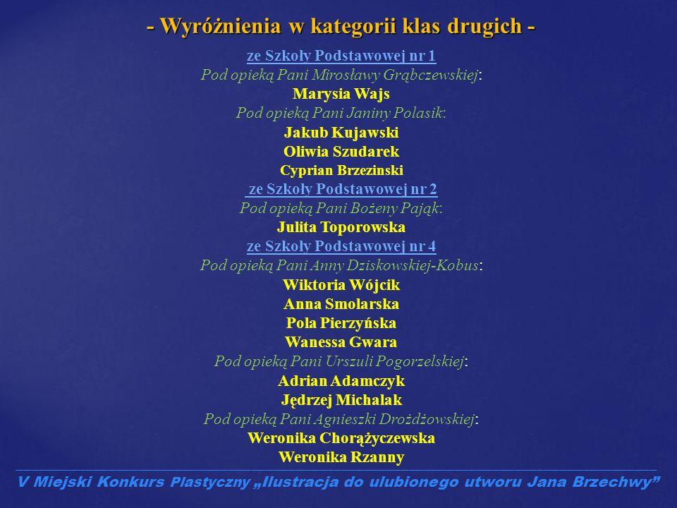- Wyróżnienia w kategorii klas drugich - Weronika Chorążyczewska