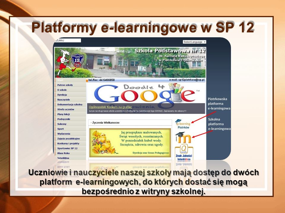 Platformy e-learningowe w SP 12
