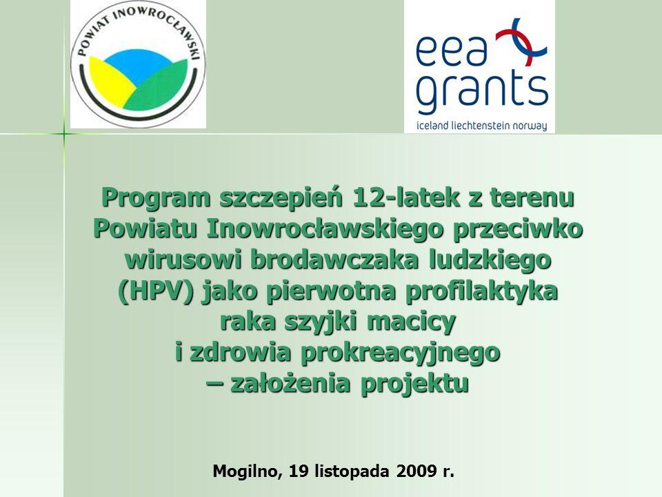 Program szczepień 12-latek z terenu Powiatu Inowrocławskiego przeciwko wirusowi brodawczaka ludzkiego (HPV) jako pierwotna profilaktyka raka szyjki macicy i zdrowia prokreacyjnego – założenia projektu