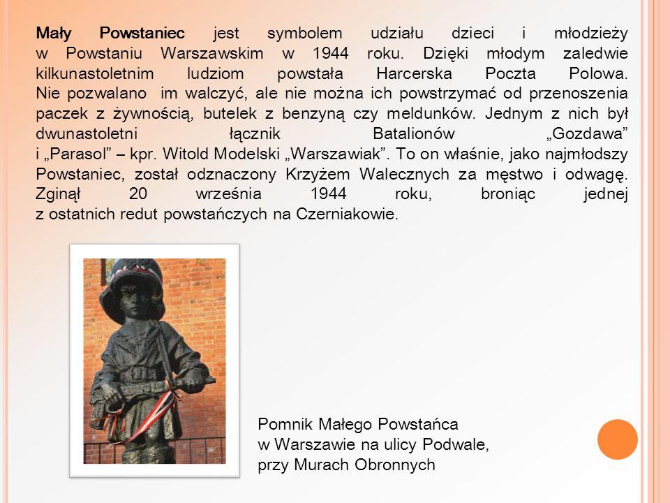 """Mały Powstaniec jest symbolem udziału dzieci i młodzieży w Powstaniu Warszawskim w 1944 roku. Dzięki młodym zaledwie kilkunastoletnim ludziom powstała Harcerska Poczta Polowa. Nie pozwalano im walczyć, ale nie można ich powstrzymać od przenoszenia paczek z żywnością, butelek z benzyną czy meldunków. Jednym z nich był dwunastoletni łącznik Batalionów """"Gozdawa i """"Parasol – kpr. Witold Modelski """"Warszawiak . To on właśnie, jako najmłodszy Powstaniec, został odznaczony Krzyżem Walecznych za męstwo i odwagę. Zginął 20 września 1944 roku, broniąc jednej z ostatnich redut powstańczych na Czerniakowie."""