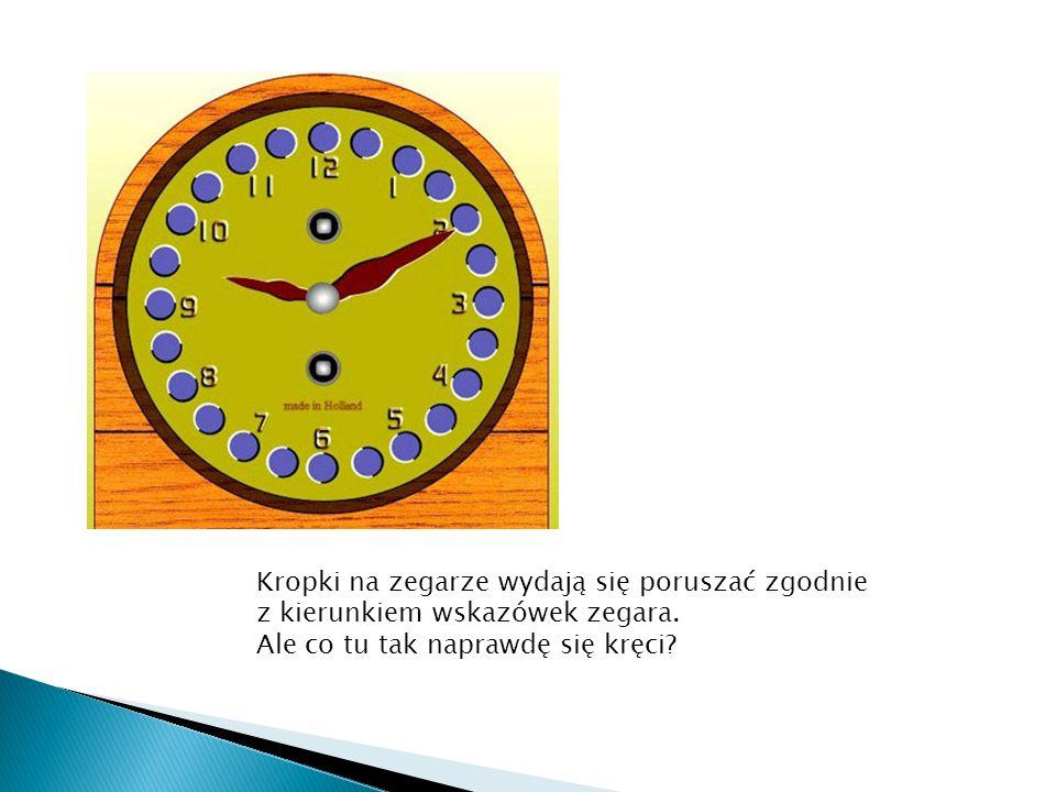 Kropki na zegarze wydają się poruszać zgodnie z kierunkiem wskazówek zegara.