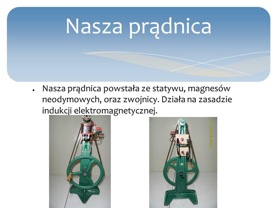 Nasza prądnica Nasza prądnica powstała ze statywu, magnesów neodymowych, oraz zwojnicy.