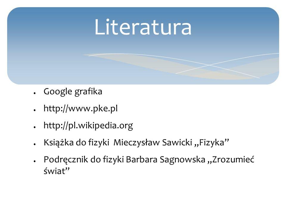 Literatura Google grafika http://www.pke.pl http://pl.wikipedia.org