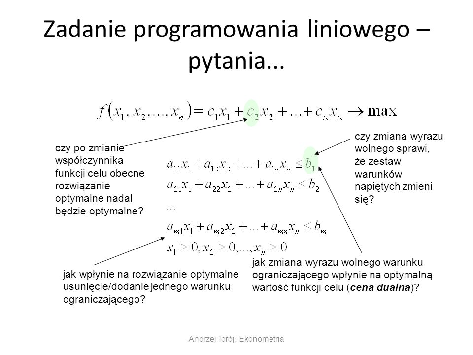 Zadanie programowania liniowego – pytania...