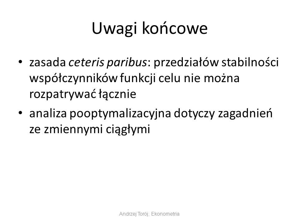 Andrzej Torój, Ekonometria