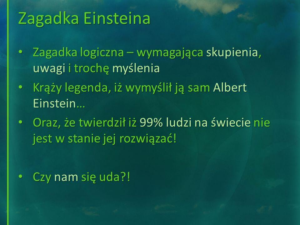 Zagadka Einsteina Zagadka logiczna – wymagająca skupienia, uwagi i trochę myślenia. Krąży legenda, iż wymyślił ją sam Albert Einstein…