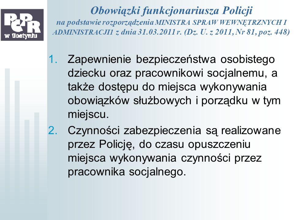 Obowiązki funkcjonariusza Policji na podstawie rozporządzenia MINISTRA SPRAW WEWNĘTRZNYCH I ADMINISTRACJI1 z dnia 31.03.2011 r. (Dz. U. z 2011, Nr 81, poz. 448)