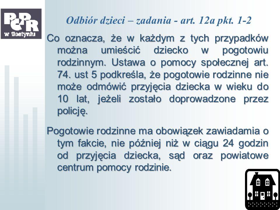 Odbiór dzieci – zadania - art. 12a pkt. 1-2