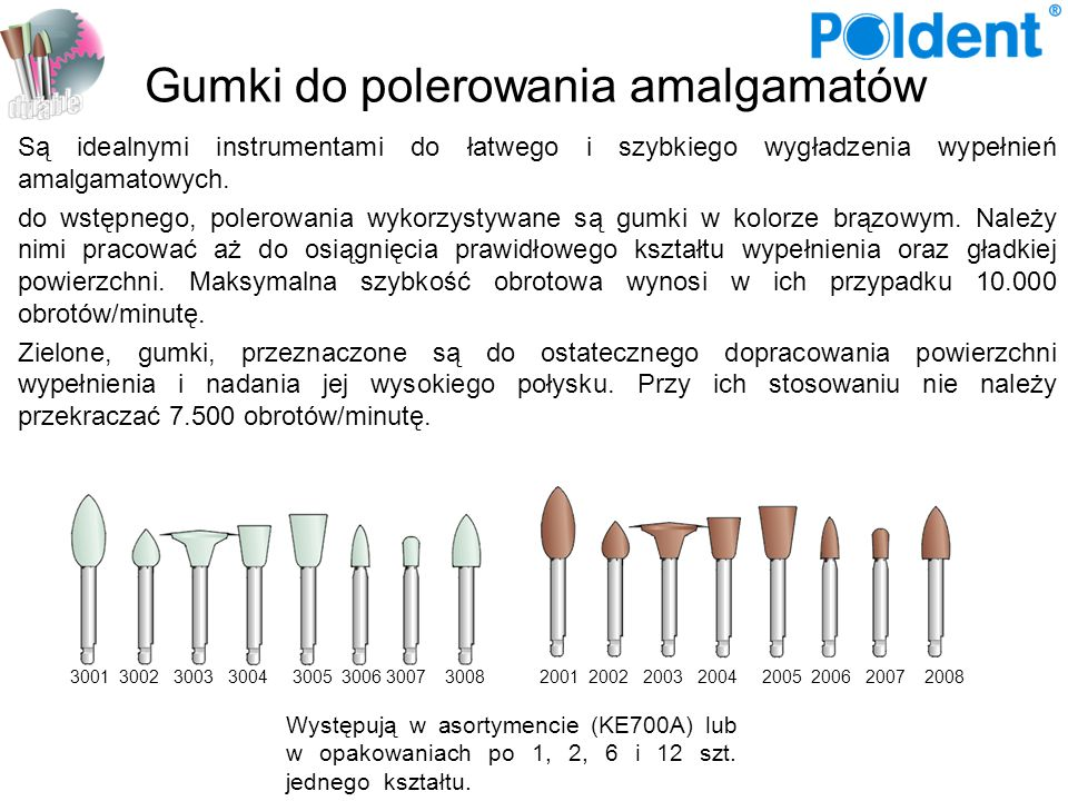 Gumki do polerowania amalgamatów